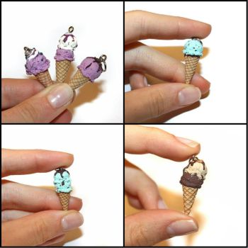 Tiny Treats - Handmade Ice Cream Pendants by Maca-mau