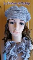 Ruffle Lace Scarf with matching Beret by lefantasiedinephtys