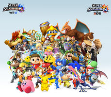 Super Smash Bros. Wii U/3DS Group Wallpaper v14 by CrossoverGamer