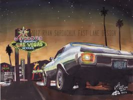 1970 Chevy Chevelle In Las Vegas (Painting) by FastLaneIllustration