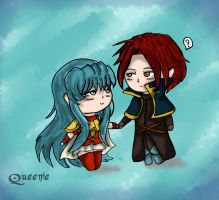 Blue Princess and Red Paladin by x-Dragonqueen-x