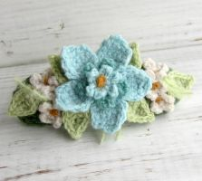 Crochet Hair Barrette Aqua Blue by meekssandygirl