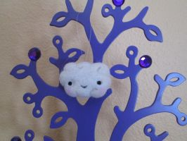 Needle Felted Kawaii Cloud Ornament by imaginaryfriends2012