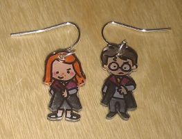 Cute Harry and Ginny earrings by Lovelyruthie