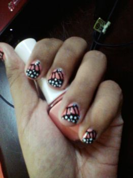 Peach butterfly nail art by Nisnis79