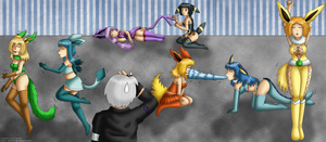 [Commission] Training with Eevee Girls by izka197