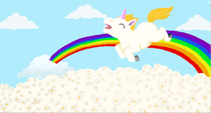unicorn jumping off a rainbow into daisies by Ramrum