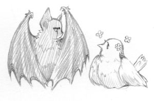 bat and bird by bu-nong