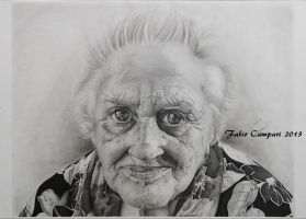 Portrait of my grandmother - Pencil on paper 50x70 by Camparbio