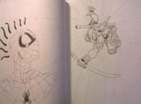 Spiderman and Deadpool by Arcobaleno1425M