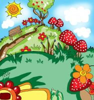 mushroomland - a game's background by art-rinay
