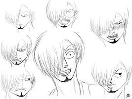 Sanji expression sketches by Seven-Bridges