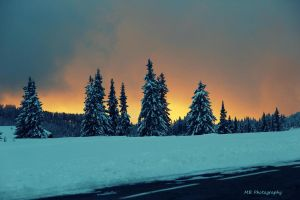 Sunset with Snow by AustrianPictures