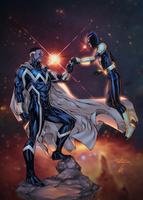 Blue Marvel And Nova - Eaglegosselin colors by SpiderGuile