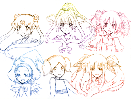Magical Girl sketch headshots by PastelCake