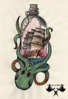 tattoo-flash octopus and ship by Tausend-Nadeln