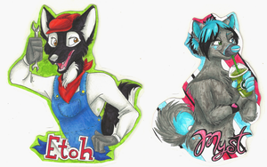 Badge Commisions-Etoh and Myst by Stray-Sketches