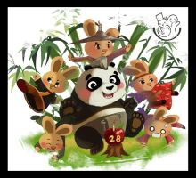 Mr. Panda n Fams by snowginger