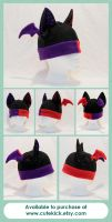 Bat Hat - Dual Colored Black Red Purple Spider Web by cutekick