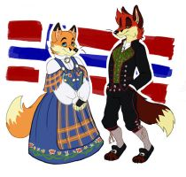 Fancy Foxes in Bunads by Viccinor