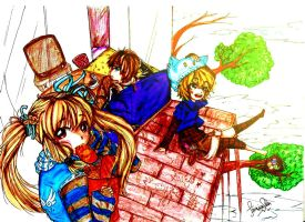 Asuka rest time with Alice and Elliot (Edited) by AmieeSha96