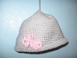 Crochet Hat With Pink Flowers by Azarahael-Morganti