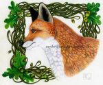 Fox with Acorns by mythrilflare