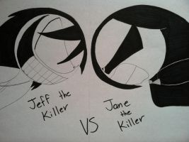 Jeff the Killer VS Jane the Killer by SticcatheStickGod