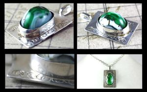 Silver Soldered Green White Lampwork Pendant by DryGulchJewelry