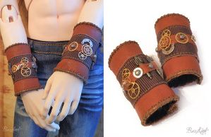 BJD Leather Steampunk Cuffs by BaziKotek