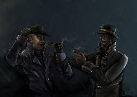 Two men in the rain by LordKvitte