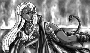 Drow Priestess for Sabledrake by lynnwood