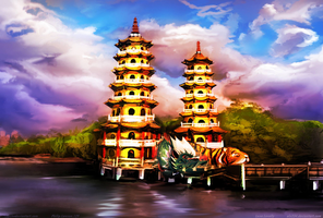 The Dragon Tiger Towers And Lotus Lake By alx234dr by zenx007