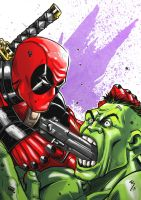 Deadpool vs Hulk colors... by Ruihq