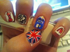Messy Doctor Who Nail Art by TheCloisterBell