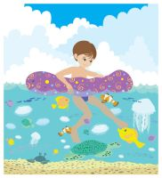 Boy and underwater dwellers by jkBunny