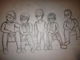 5 guys WIP by BakaShinagami