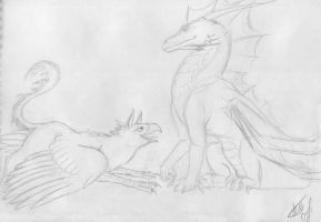 Griffin and dragon_sketch by Chickenzaur