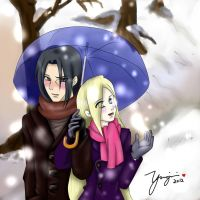On the Snow, Under an Umbrella by yuugiri