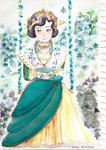 Milady on a Swing with Flowers by Harana-san