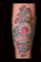 Sugar skull and dagger by tattoosbysteve