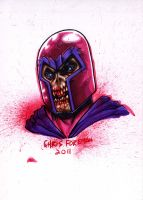 Zombie Magneto Headshot by chris-foreman