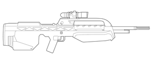 Halo BR55HB-SR B-Rifle Lineart by MasterChiefFox