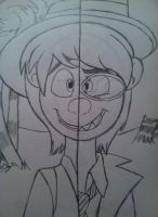 Oncie's Split Personality-Paper Sketch by WolfRusher