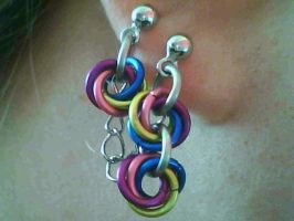rainbow rosette double earring by lunabellvarga