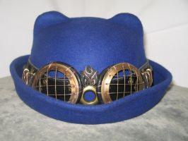 Blue Cat-Eared Bowler with Hatband and Goggles 1 by Windthin