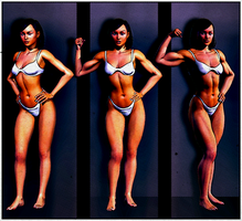 Female Muscle Growth Triptych by Lingster