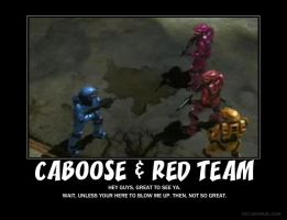 Caboose and red team by Crosknight