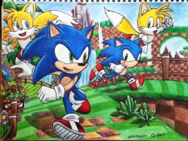 Sonic Generations Game Sonic, Tails by emichaca