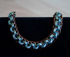 Bronze, Seafoam, and Sky Blue Viper Basket Bracele by Ichi-Black